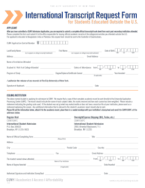 Cuny International Transcript Request Form