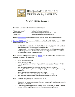 POST 9/11 GI BILL CHECKLIST - media iava