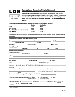 International student affidavit of support (PDF) - LDS Business College - ldsbc