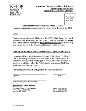 Fillable Online stern nyu APCLB Reg Form 2012 doc  Tax and