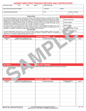 hazmat employee training record and certification form