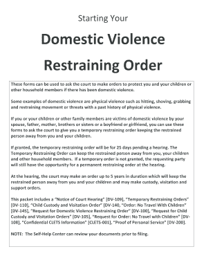 Restraining Order - Fill Online, Printable, Fillable, Blank ...