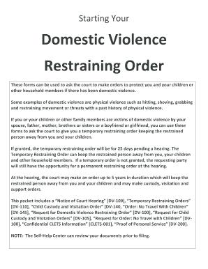 Restraining Order Forms