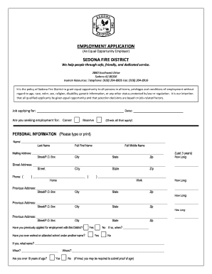 EMPLOYMENT APPLICATION SEDONA FIRE DISTRICT - sedonafire