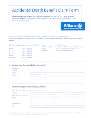 Allianz Accidental Death - Fill Online, Printable, Fillable, Blank ...