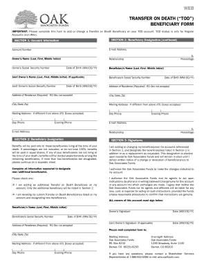 Fillable Online Designation Of Tod Beneficiary Form Oak Associates Funds Fax Email Print