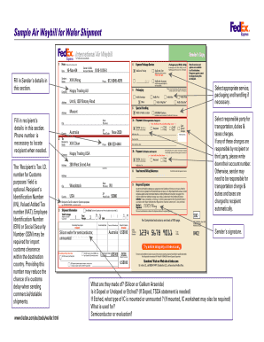 fedex international air waybill fillable fill online printable fillable blank pdffiller