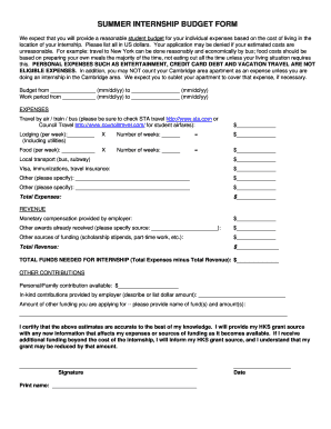 Summer internship budget form - hks harvard