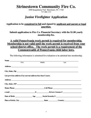 Junior Firefighter Application Pennsylvania - Fill Online ...