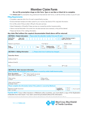Fillable Online Member Claim Form - Blue Cross and Blue ...