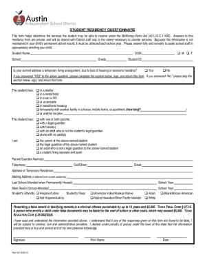 austin isd student residency questionnaire fill form