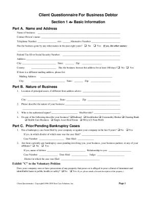 Client Questionnaire Best Case Solutions Inc 2011 - Fill ...