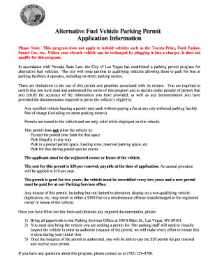Alternative Fuel Vehicle Parking Permit Permit Application - lasvegasnevada