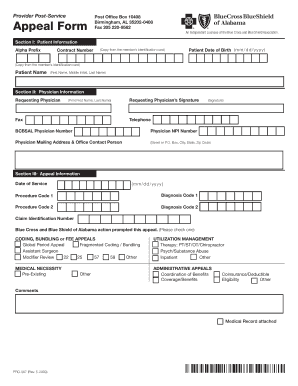 Fillable Online bcbsal Provider Post-Service Appeal Form - Blue ...