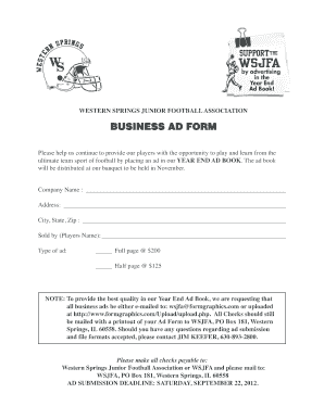 Fillable online business ad form fax email for Bureau 2a form