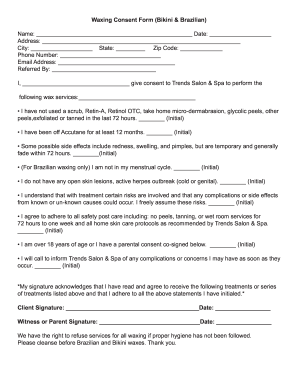 Fillable Online Waxing Consent Form - Townsquare Interactive Fax ...