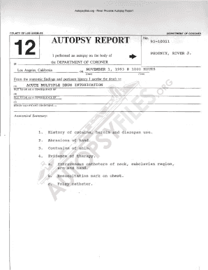 Autopsy Report Fillable