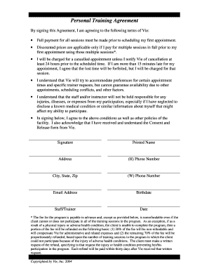 20 Printable Personal Training Service Agreement Forms And