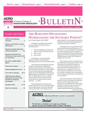 BULLETIN BULLETIN - American College of Radiation Oncology - acro