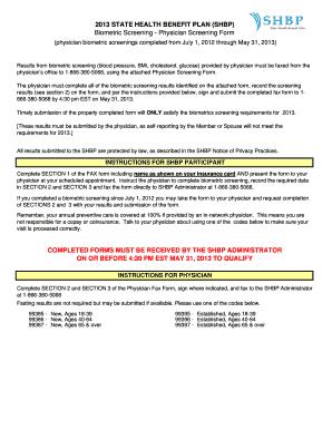 Cigna Biometric Screening Form 2013 - Fill Online, Printable ...