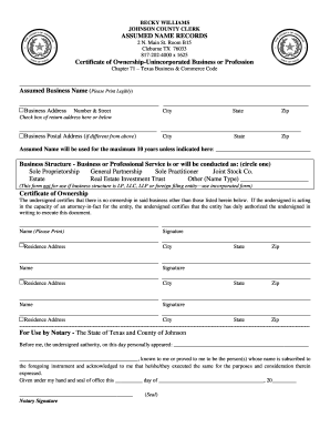Texas dba forms fill online printable fillable blank for Laporte county clerk