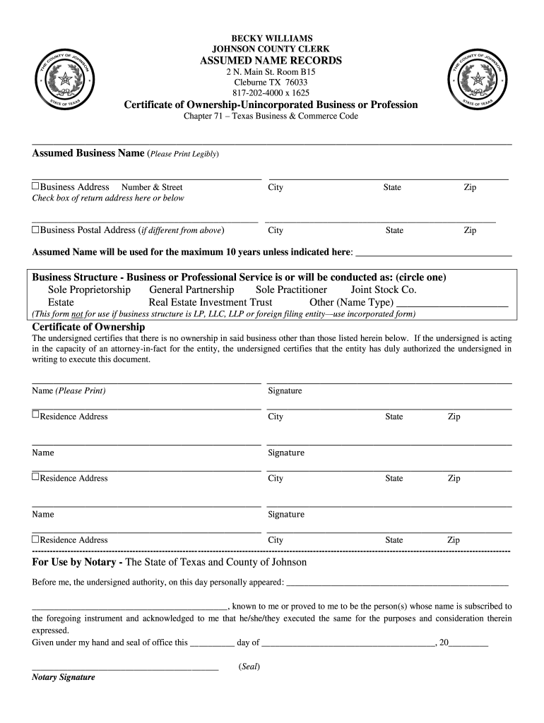 form dba texas fillable assumed business printable county forms ownership pdffiller johnson certification
