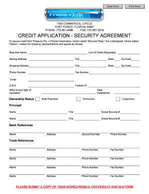 CREDIT APPLICATION - SECURITY AGREEMENT - Pressure Pro