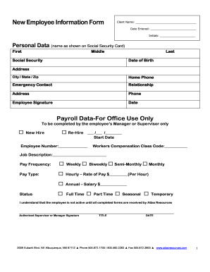 New Employee Information Form   Atlas Resources  Employee Information Form Sample