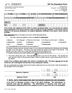 Vermont Gift Tax Exemption Form - Fill Online, Printable, Fillable ...