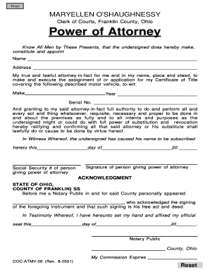 Medical power of attorney form ohio templates fillable for Ohio bureau of motor vehicles power of attorney