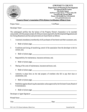 Fillable Online Property Owners Association Bylaws