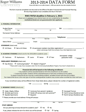 Rwu Data Form - Fill Online, Printable, Fillable, Blank | PDFfiller