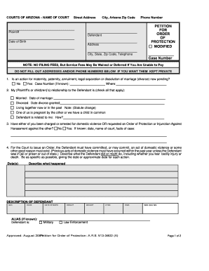Arizona Fillable Order Of Protection Forms - Fill Online ...