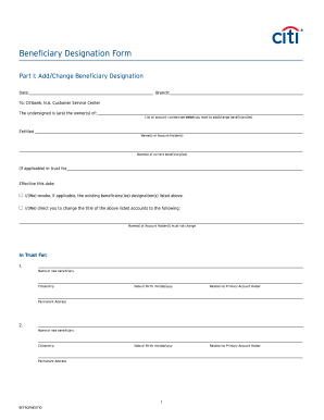 Transfer On Death For Citibank Fill Online Printable Fillable Blank Pdffiller