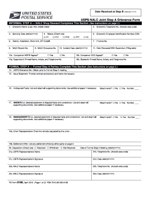 nalc grievance worksheet form