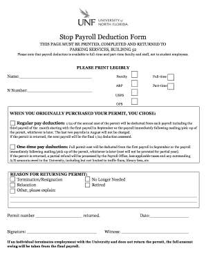Stop Payroll Deduction Form   Unf