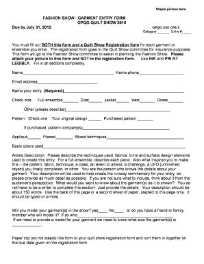 Fashion Registration Form Fill Online Printable Fillable Blank Pdffiller