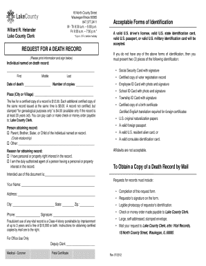 Death Record Request Form - Lake County Clerk - countyclerk lakecountyil