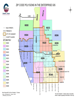 Chandler Zip Code Map   Fill Online, Printable, Fillable, Blank