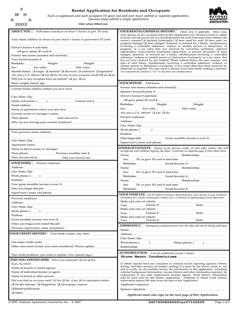National Apartment Association Rental Application - Fill Online