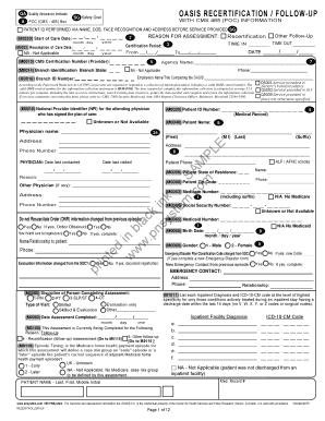Oasis C Recertification Form - Fill Online, Printable, Fillable ...