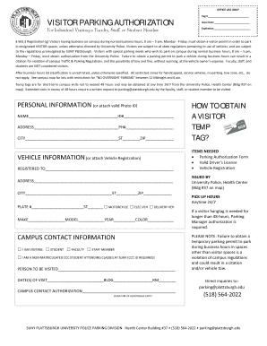 Fillable Online plattsburgh Parking Registration Form for Visitors ...