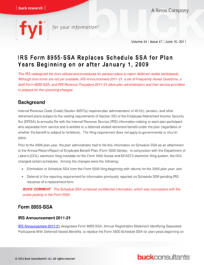 Fillable Online IRS Form 8955-SSA Replaces Schedule SSA for Plan ...