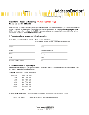 Fillable Online Order Form Postal Code Lookup Usa And