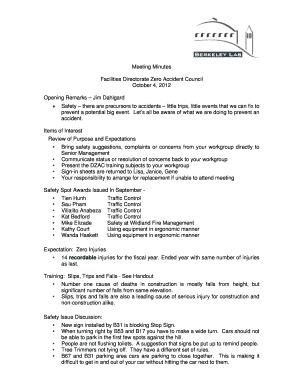 safety meeting attendance sheet