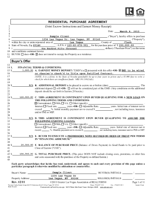 Nv Realtor Earnest Money Contract Form  Printable Purchase Agreement