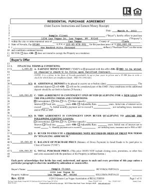 nv realtor earnest money contract form fill online