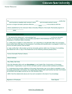 Editable domestic partnership affidavit template fill print affidavit of termination of domestic partnership hrs colostate altavistaventures Choice Image