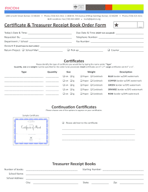 receipt book receipt form