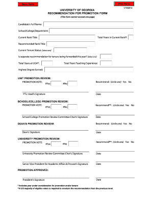 UGA Recommendation for Promotion Form - Office of the Senior ...